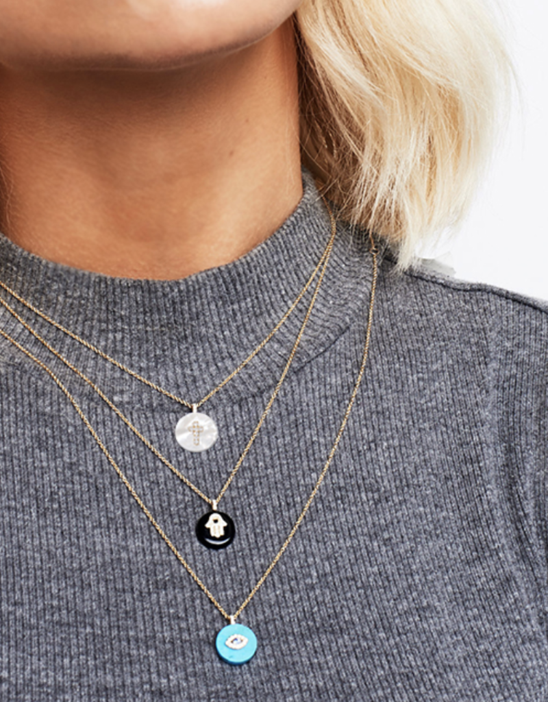 Noush Hamsa on Black Onyx Necklace