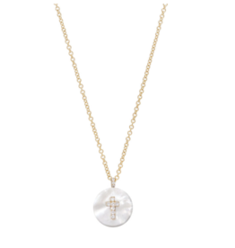Noush Cross on Mother of Pearl Necklace