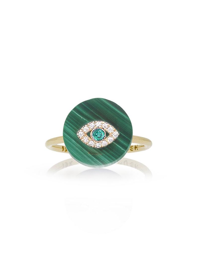 Noush Evil Eye on Malachite Ring