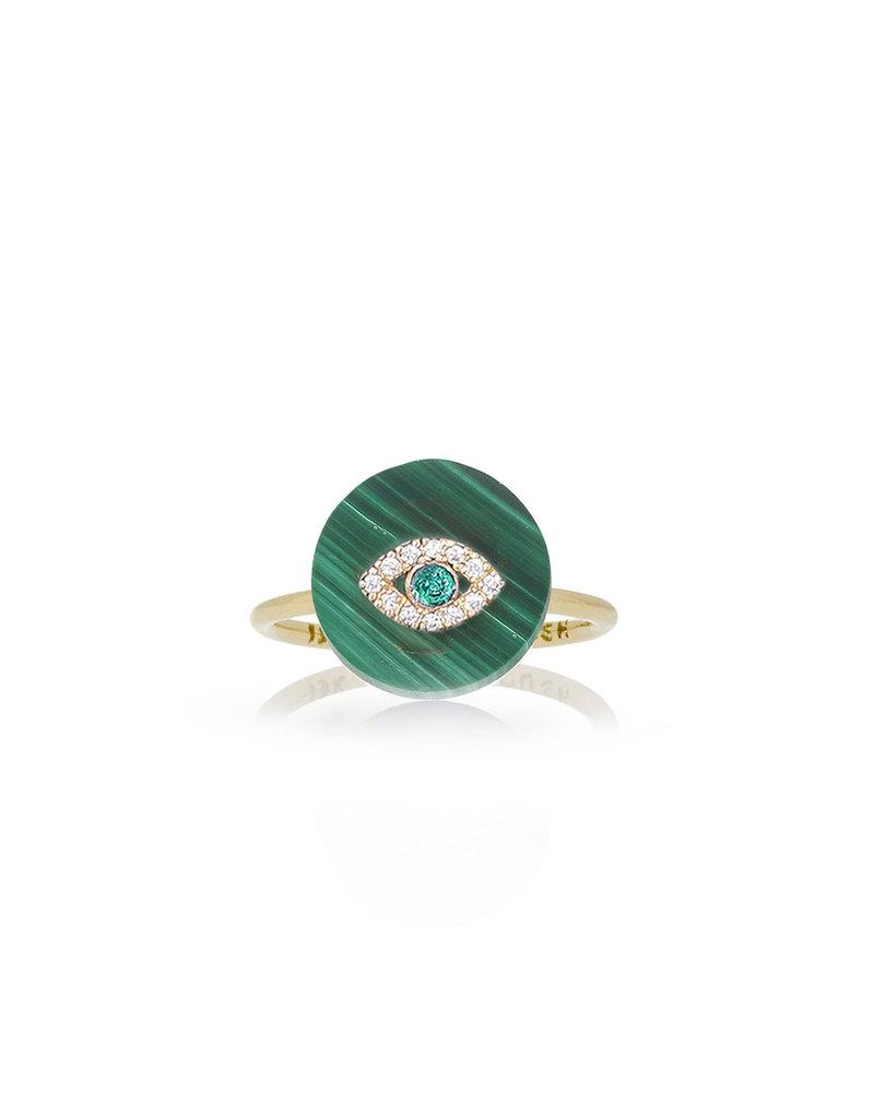 Evil Eye on Malachite Ring