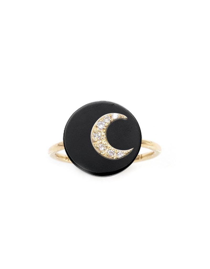 Noush Moon Ring on Black Onyx Ring