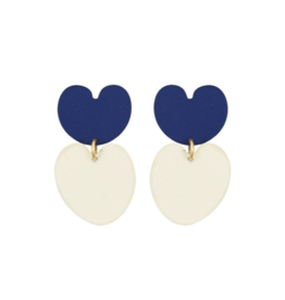 Navy Lily Pad Earrings
