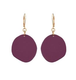 We Dream In Colour Single Malbec Pebble Earrings