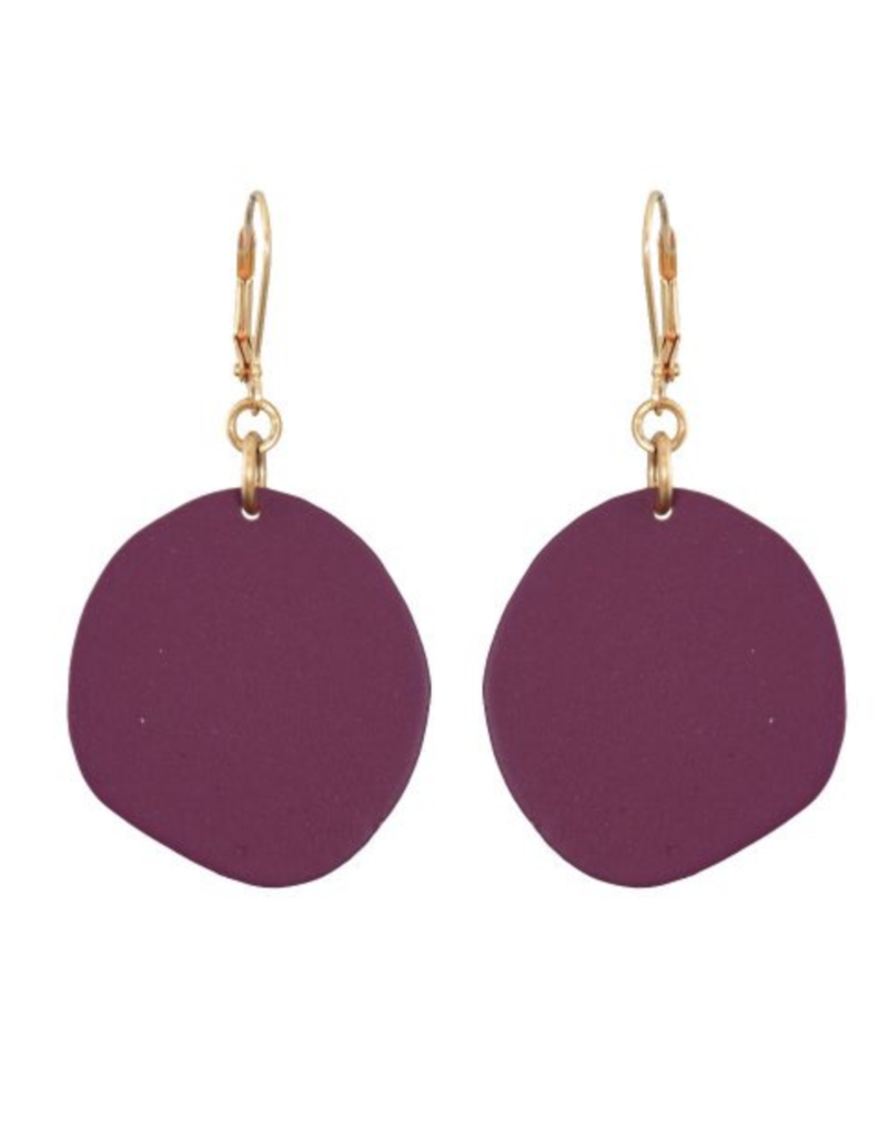 We Dream In Colour Single Malbec Pebble Earrings