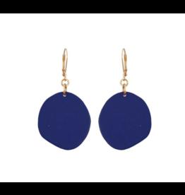 Single Navy Pebble Earrings