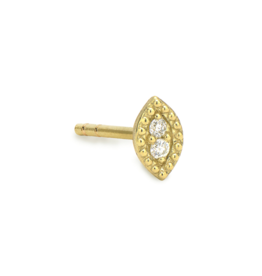 Jude Frances Yellow Gold Petite Marquis Stud Single