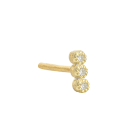Jude Frances Yellow Gold Petite 3 Diamond Stud