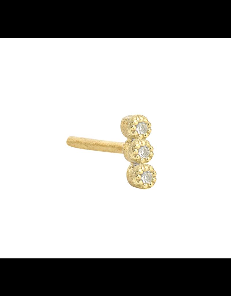 Jude Frances Yellow Gold Petite 3 Diamond Stud