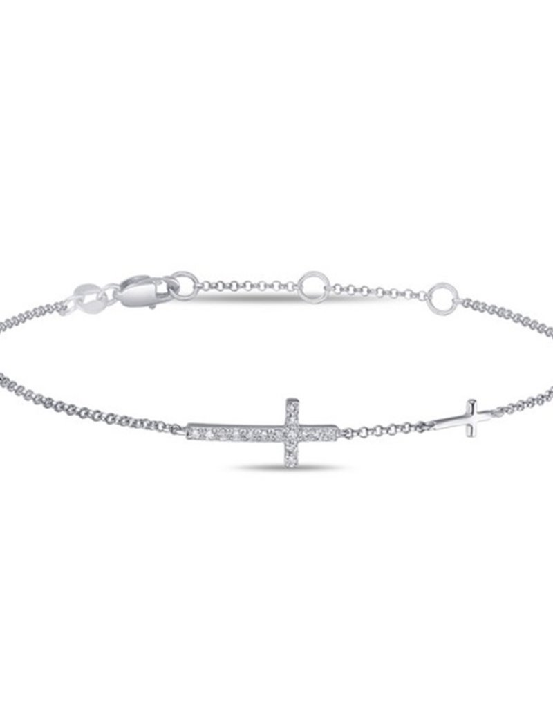 Luvente 14K Gold White Diamond Cross Bracelet
