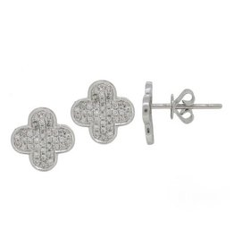 Luvente White Gold Diamond Clover Earrings