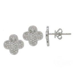 White Gold Diamond Clover Earrings