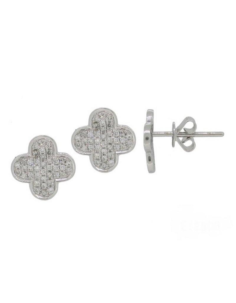 Luvente White Gold Diamond Clover Earrings