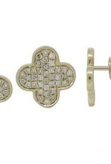 Luvente 14K Gold Diamond Pave Clover Earrings