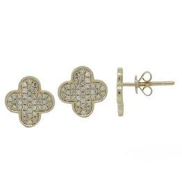14K Gold Diamond Pave Clover Earrings