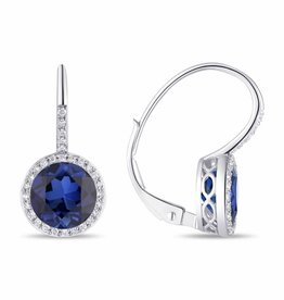 Luvente 14k White Gold Sapphire Correndum Earrings