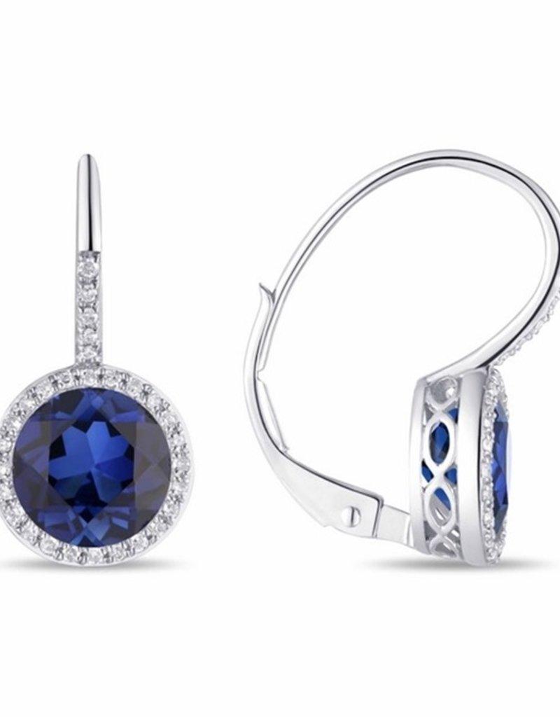 Luvente 14k White Gold Sapphire Correndum Earrings