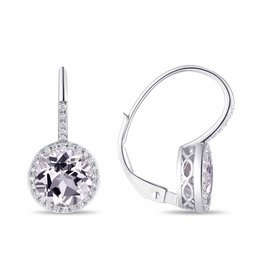 Luvente 14k White Gold White Topaz Correndum Earrings
