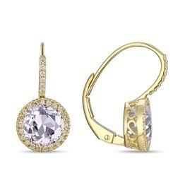 14k Yellow Gold White Topaz Correndum Earrings