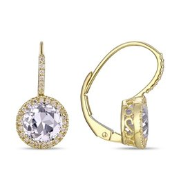 Luvente 14k Yellow Gold White Topaz Correndum Earrings