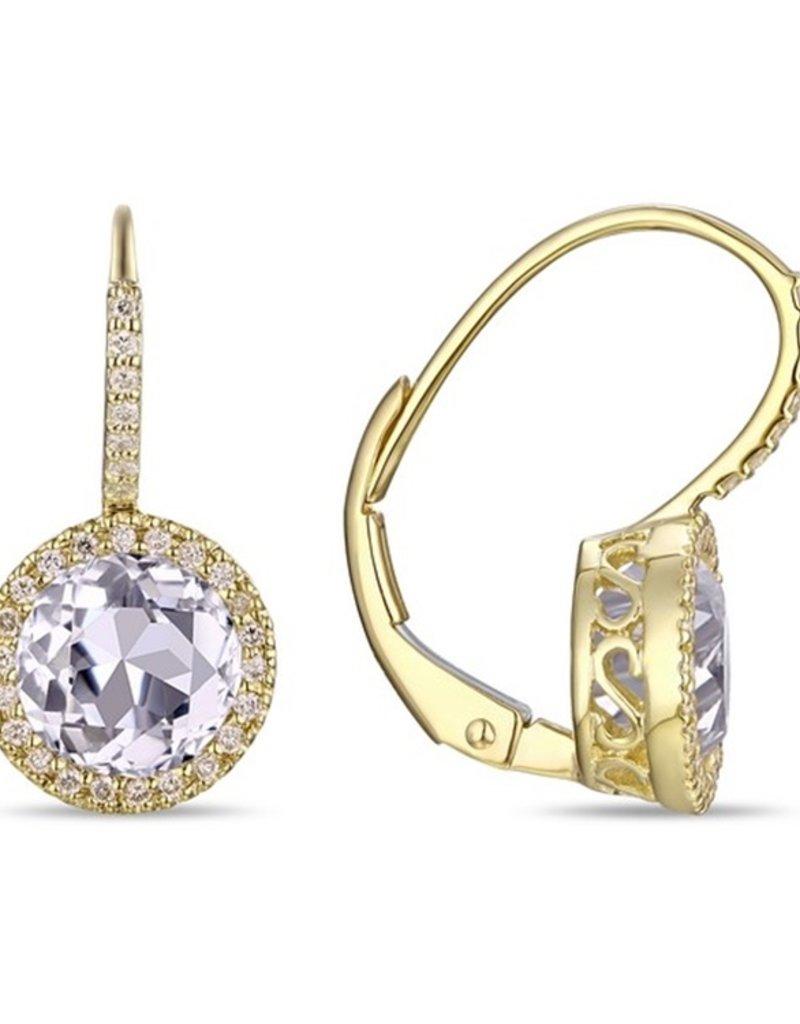 Luvente 14k Yellow Gold White Topaz Correndum Earrings