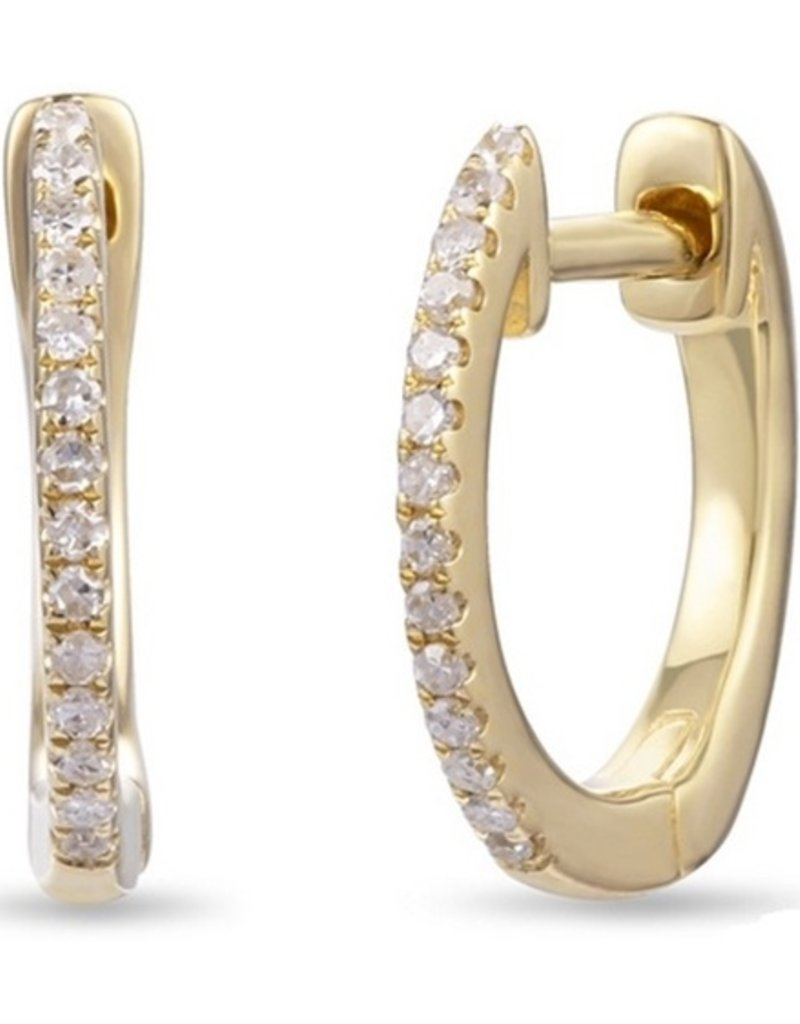 Luvente 14K Yellow Gold Thin Diamond Huggies