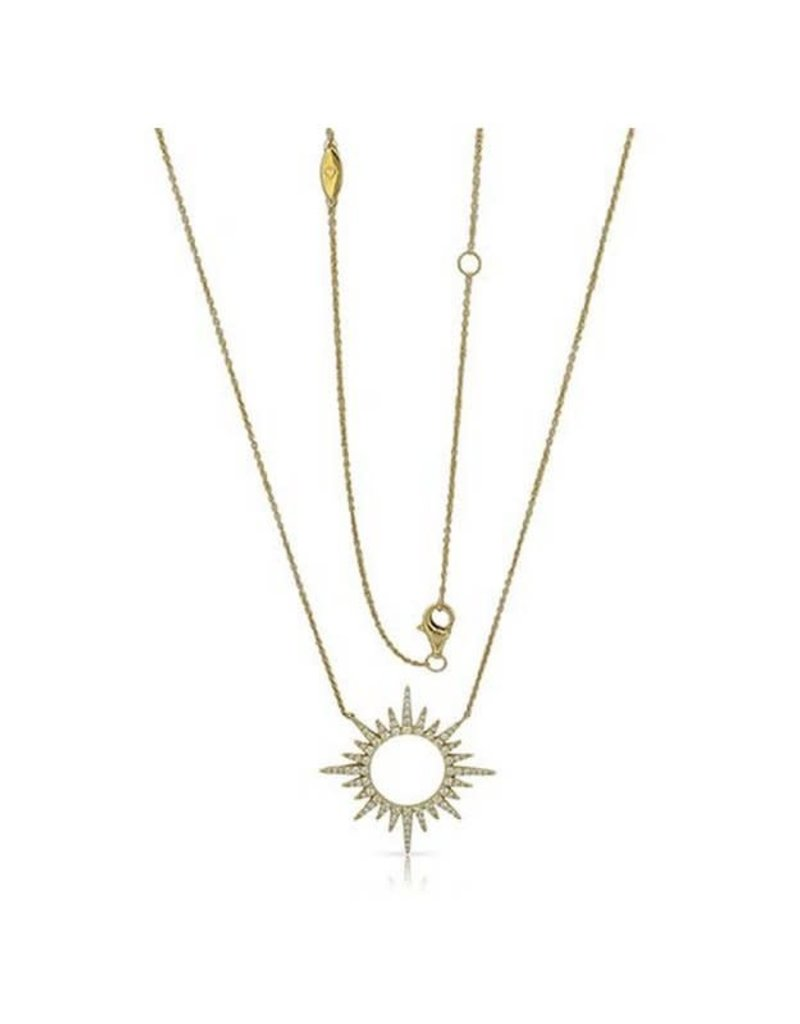 Luvente 14K Yellow Gold Diamond Burst Necklace
