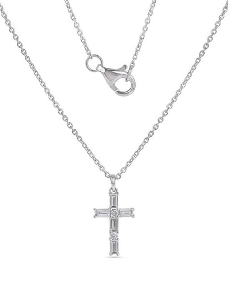 Luvente 14K White Gold Diamond Cross Necklace