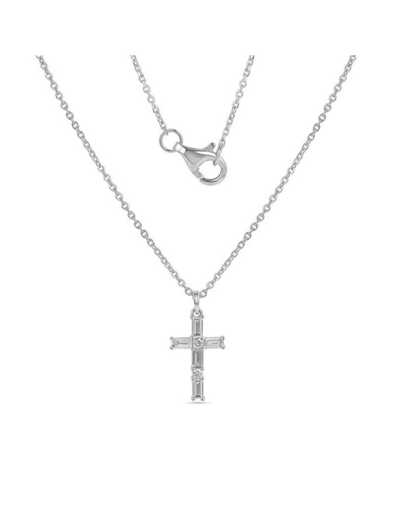 14K White Gold Diamond Cross Necklace