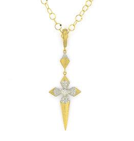 Jude Frances Lisse Medium Pave Pyramid Cross Pendant