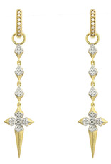 Jude Frances Lisse Long Drop Pyramid Cross Earring Charms