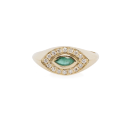 Zoe Chicco 14k Gold Marquise Signet Ring with Emerald Marquis