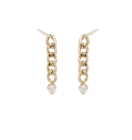 Zoe Chicco Gold Short Small Curb Chain Drop Earring with Prong Set Diamonds
