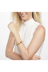 Julie Vos Paris Demi Hinge Cuff Gold Faceted Black Onyx w/ Black Onyx Accents