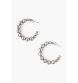 Chan Luu Standard Platinum Pearl Holly Hoop Earrings