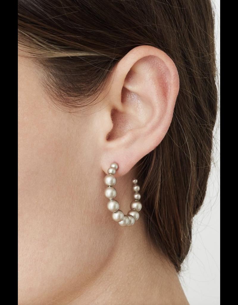 Standard Platinum Pearl Holly Hoop Earrings