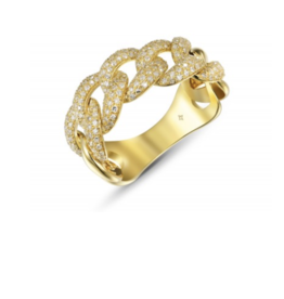 14KY Large Pave Chain Link Ring