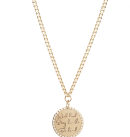 "Zoe Chicco 14K Medium Mantra Necklace ""Work Hard, Stay Humble, Be Kind"""