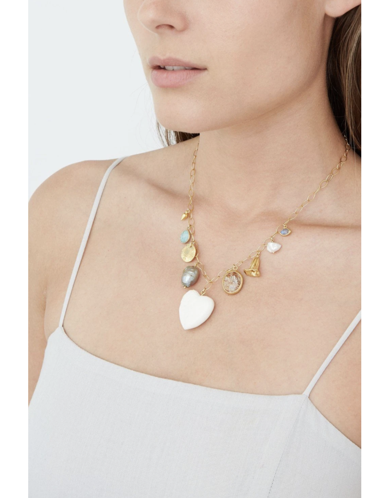 Chan Luu White Bone Mix Charm Necklace