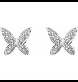 White Gold Diamond Butterfly Earrings