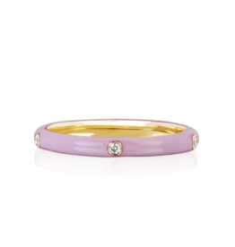 EF Collection 14KY 5 Diamond Light Pink Enamel Stack Ring- size 6