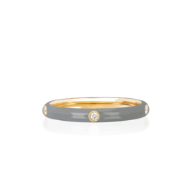 EF Collection 14KY 5 Diamond Light Grey Enamel Stack Ring-size 7