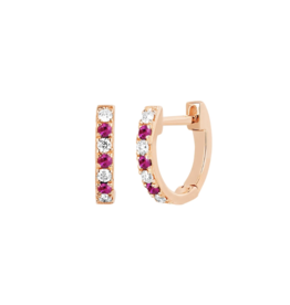 EF Collection Mini Diamond & Ruby Dot Huggie Earrings- Rose Gold
