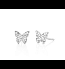 EF Collection 14KW Diamond Butterfly Stud Earrings