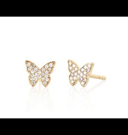 14KY Diamond Butterfly Stud Earrings