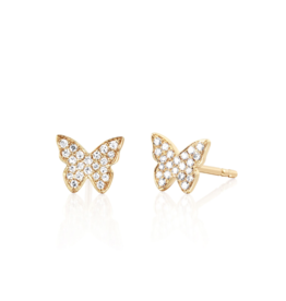 EF Collection 14KY Diamond Butterfly Stud Earrings