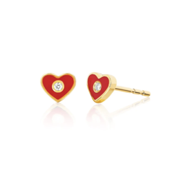 Diamond and Red Enamel Heart Studs