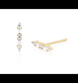 EF Collection Prong Set Diamond Baguette Bar Stud Earrings