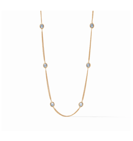 Julie Vos Calypso Station Necklace Chalcedony Blue