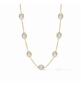 Julie Vos Calypso Delicate Necklace Chalcedony Blue