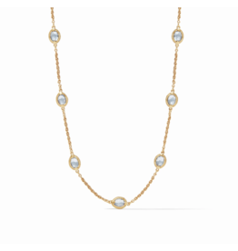 Julie Vos Calypso Demi Delicate Necklace Chalcedony Blue